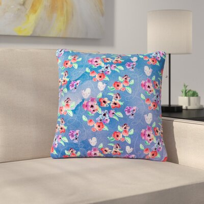 Zara Martina Mansen Signs of Spring Outdoor Throw Pillow Size: 18 H x 18 W x 5 D, Color: Blue/Red