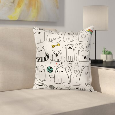 Sketchy Cats with Toys Cushion Pillow Cover Size: 24 x 24