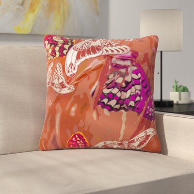 Butterflies Party by Vikki Salmela Outdoor Throw Pillow Color: Brown