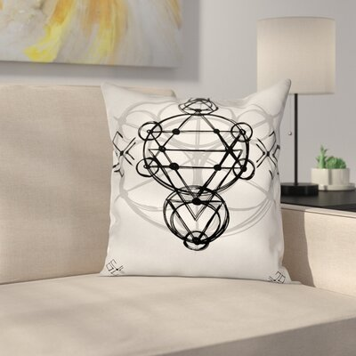Tribal Sketch Spiritual Square Pillow Cover Size: 20 x 20