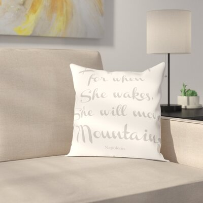 Let Her Sleep Mountains Throw Pillow Size: 18 H x 18 W x 2 D, Color: Gray