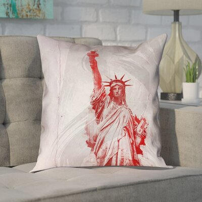 Houck Watercolor Statue of Liberty Printed Zipper Pillow Cover Size: 26 x 26