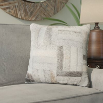 Graham Parquet Leather Throw Pillow Color: Gray