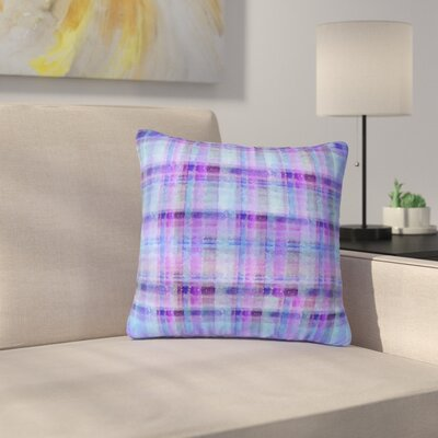 Carolyn Greifeld Plaid Pattern Outdoor Throw Pillow Size: 18 H x 18 W x 5 D, Color: Purple/Blue