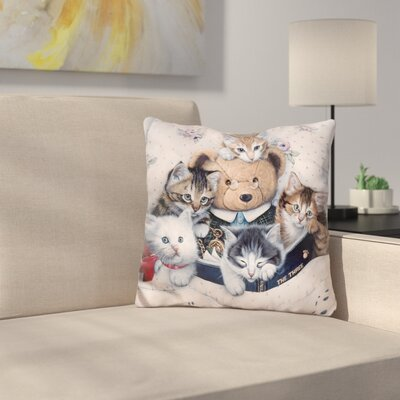 Kittens and Teddy Bear Throw Pillow
