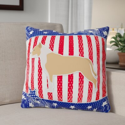 Patriotic Square Blue/Red Indoor/Outdoor Throw Pillow Size: 14 H x 14 W x 3 D