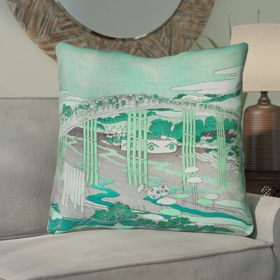 Enya Japanese Bridge Square Throw Pillow Color: Green, Size: 18 x 18