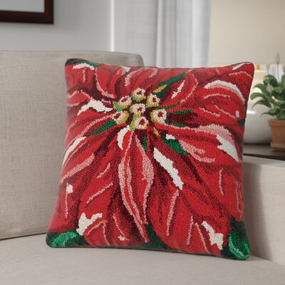 Poinsettia Holiday Hook Wool Throw Pillow
