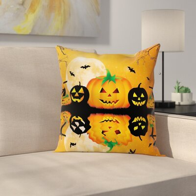 Halloween Decor Scary Pumpkin Square Pillow Cover Size: 16 x 16