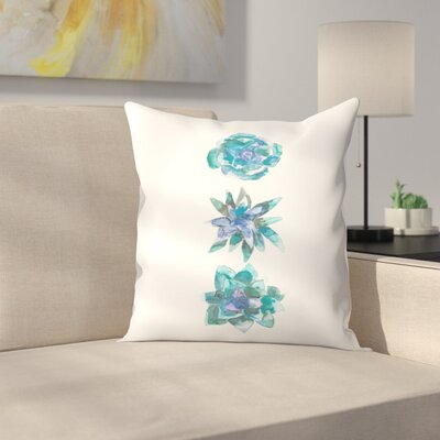 Jetty Printables Watercolor Succulent Trio Throw Pillow Size: 20 x 20