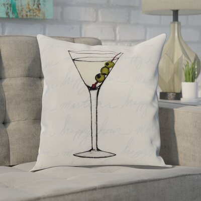 Crosswhite Martini Glass Text Fade Print Indoor/Outdoor Throw Pillow Color: Pale Blue, Size: 16 x 16