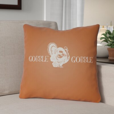 Gobble Square Indoor/Outdoor Throw Pillow Size: 18 H x 18 W x 4 D, Color: Orange/White