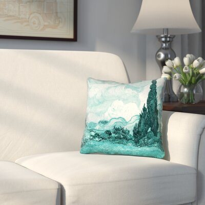 Woodlawn Wheatfield with Cypresses Square Throw Pillow Size: 14 H x 14 W, Color: Yellow