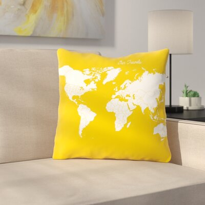 Our Travels Throw Pillow Size: 14 H x 14 W x 2 D, Color: Mustard