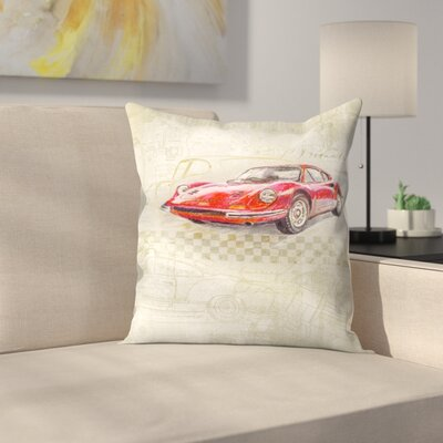 Ferrari Dino Gt Throw Pillow Size: 16 x 16
