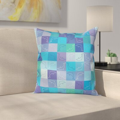Nautical Collage of Dolphins Square Pillow Cover Size: 16 x 16