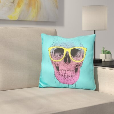 Skull with Glasses Throw Pillow
