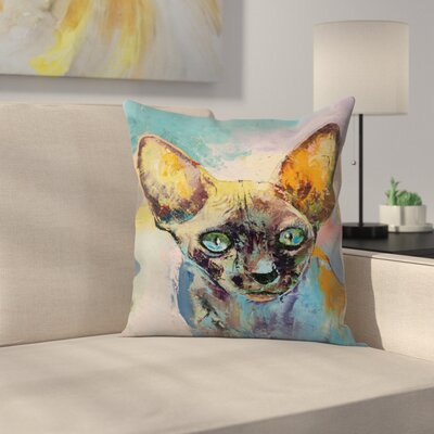 Michael Creese Sphynx Cat Portrait Throw Pillow Size: 14 x 14