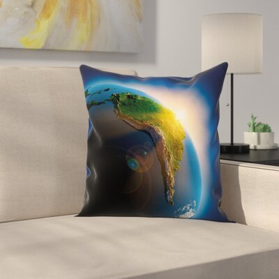 South America Continent Square Pillow Cover Size: 24 x 24