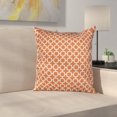 Burville Indoor/Outdoor Polyester Throw Pillow Color: Orange/White
