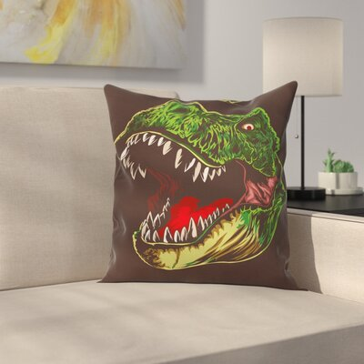 Dinosaur Aggressive Wild T-Rex Square Cushion Pillow Cover Size: 16 x 16
