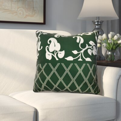 Decorative Holiday Floral Print Outdoor Throw Pillow Size: 16 H x 16 W, Color: Dark Green