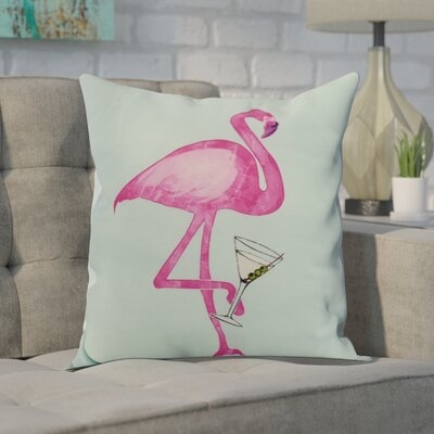 Crosswhite Single Flamingo Indoor/Outdoor Throw Pillow Color: Aqua, Size: 18 x 18