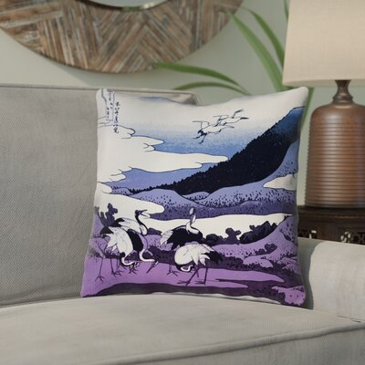 Montreal Japanese Cranes Square Indoor/Outdoor Throw Pillow Size: 18 x 18 , Pillow Cover Color: Purple