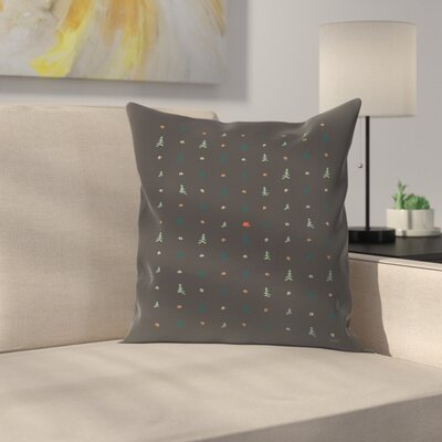 Camping Pattern Throw Pillow Size: 18 x 18
