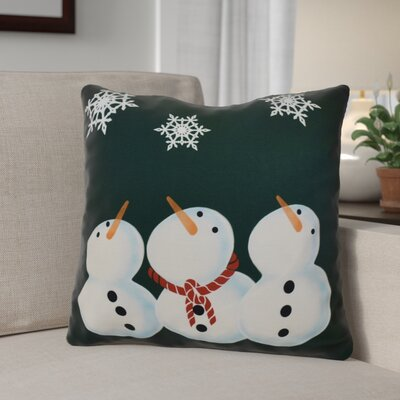 Decorative Snowmen Geometric Print Throw Pillow Size: 20 H x 20 W, Color: Dark Green