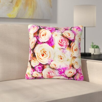 Dawid Roc Sweet Rose Flowers Floral Outdoor Throw Pillow Size: 16 H x 16 W x 5 D