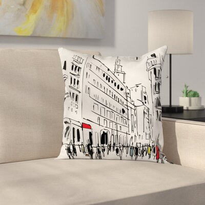 City Sketch Pillow Cover Size: 24 x 24