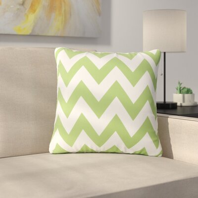 Mayhew Square Outdoor Throw Pillow Color: Green/White