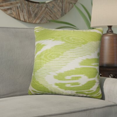 Delano Ikat Linen Throw Pillow Cover Color: Green