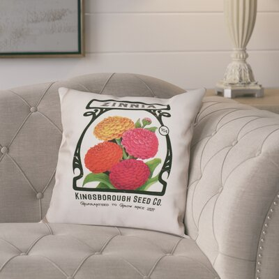 Swan Valley Zinnia Floral Print Throw Pillow Size: 20 H x 20 W, Color: Cream