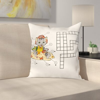 Puzzle Crossword Square Cushion Pillow Cover Size: 16 x 16