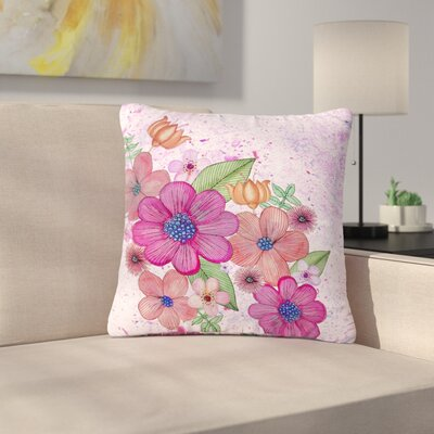 Julia Grifol My Garden Floral Outdoor Throw Pillow Size: 18 H x 18 W x 5 D
