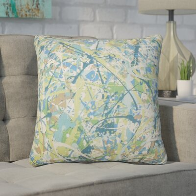 Bizzell Geometric Cotton Throw Pillow Color: Green