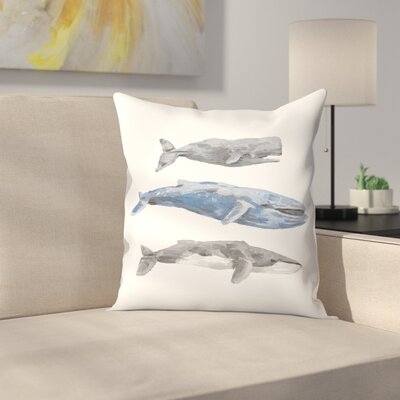 Jetty Printables Whale Painting Trio 2 Throw Pillow Size: 14 x 14