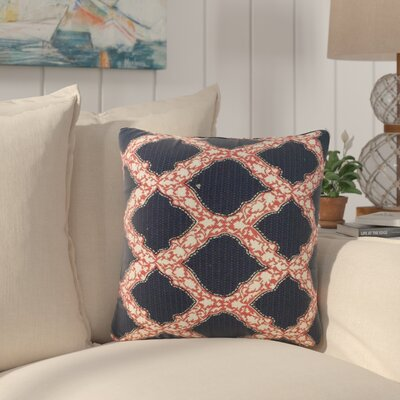 J Geometric Cotton Throw Pillow Color: Indigo