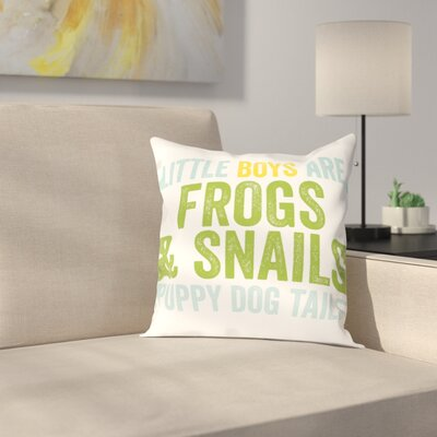 Frogs & Snails Throw Pillow Size: 18 H x 18 W x 2 D, Color: Blue Green