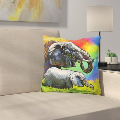 Elephant Pop Mom Cub Throw Pillow