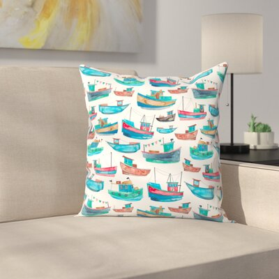 Elena ONeill Fishing Boats Throw Pillow Size: 16 x 16