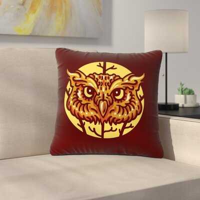 BarmalisiRTB Head Owl Digital Outdoor Throw Pillow Size: 18 H x 18 W x 5 D