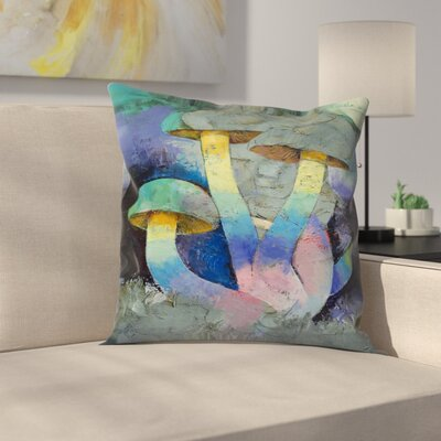 Michael Creese Magic Mushrooms Throw Pillow Size: 14 x 14
