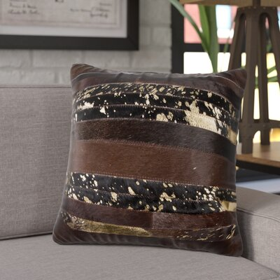 Sarthak Leather Throw Pillow Color: Chocolate/Gold