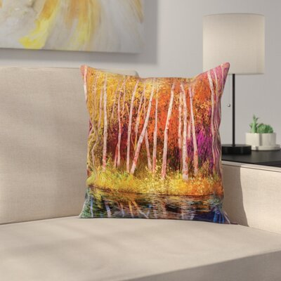 Forest Autumn Trees By Lake Square Pillow Cover Size: 20 x 20