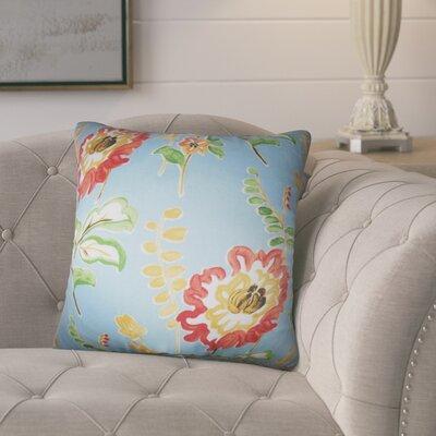 Hepatique Floral Cotton Throw Pillow Color: Light Blue