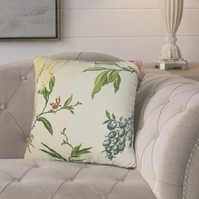 Margarida Floral Cotton Throw Pillow Color: White/Green