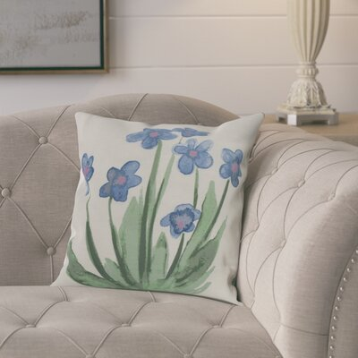 Kaylor Pretty Little Flower Indoor/Outdoor Throw Pillow Color: Light Blue, Size: 18 x 18